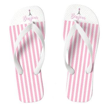 Beach Themed Bonjour Eiffel Tower Pink Stripes Flip Flops
