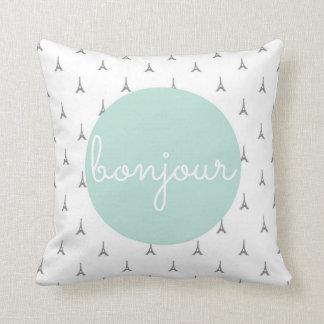 Bonjour Eiffel Tower print in grey Throw Pillow