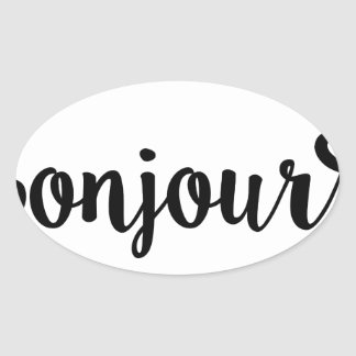 bonjour french hello gift college girl oval sticker