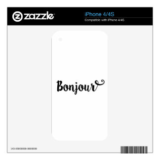 bonjour french hello gift college girl decal for the iPhone 4S