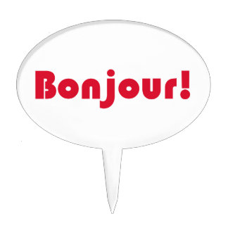 Bonjour French Language Hello Typography Gift Cake Topper