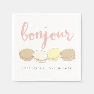 Bonjour French Macarons Bridal Shower Paper Napkin
