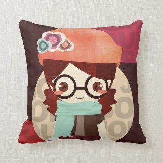 Bonjour_Girl_Pillow Throw Pillows