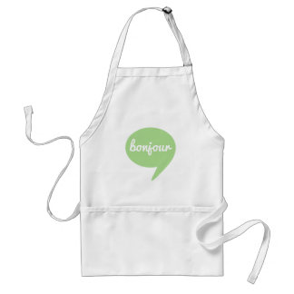 bonjour green speech bubble, French word art Adult Apron