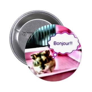 Bonjour Hamster Pinback Button