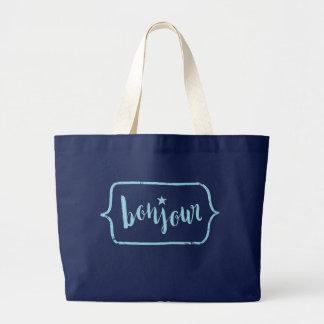 Bonjour - Hand Lettering Typography Design Large Tote Bag