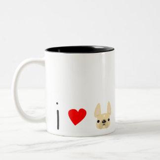 Bonjour Heart Frenchies Mug / Cream