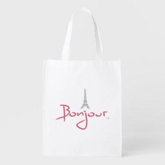 Bonjour (hola) París, Francia - torre Eiffel Bolsas Reutilizables