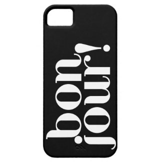 """""""Bonjour"""" in Black and White iPhone SE/5/5s Case"""