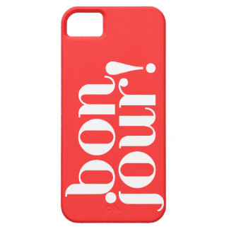 """""""Bonjour"""" in Coral and White iPhone SE/5/5s Case"""