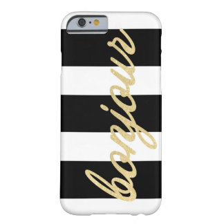 Bonjour in Gold Script | Black Stripes Barely There iPhone 6 Case