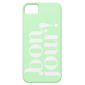 """""""Bonjour"""" in Mint and White iPhone SE/5/5s Case"""