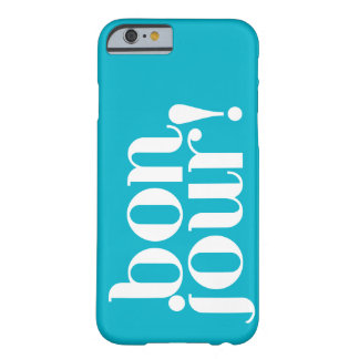 """""""Bonjour"""" in Turquoise and White Barely There iPhone 6 Case"""