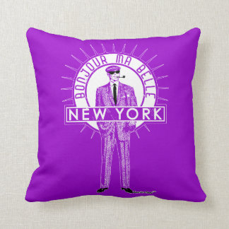 Bonjour mA barks New York by FRA Cisco Evans ™ Throw Pillow