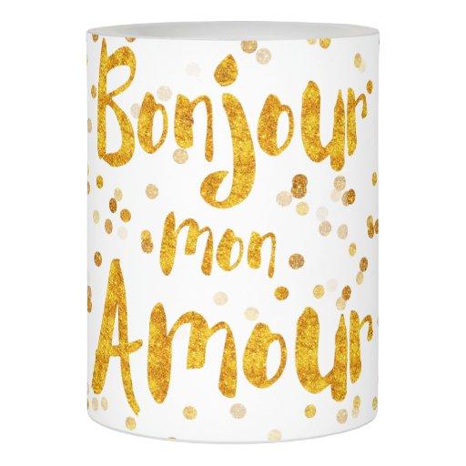 bonjour mon amour flameless candle zazzle. Black Bedroom Furniture Sets. Home Design Ideas