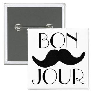 BONJOUR Moustache Pinback Button