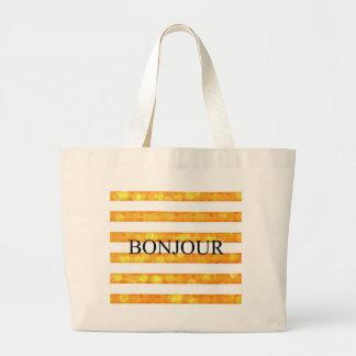 Bonjour Orange Stripe Bokeh Jumbo Tote Bag