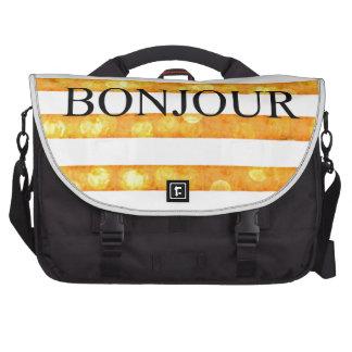Bonjour Orange Stripe Bokeh Laptop Computer Bag