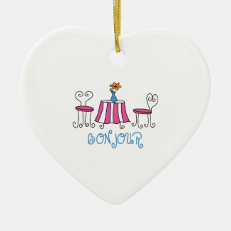 Bonjour Double-Sided Heart Ceramic Christmas Ornament