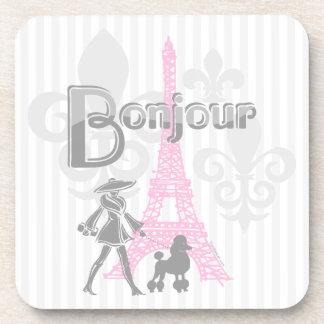 Bonjour Paris 2 Cork Coaster