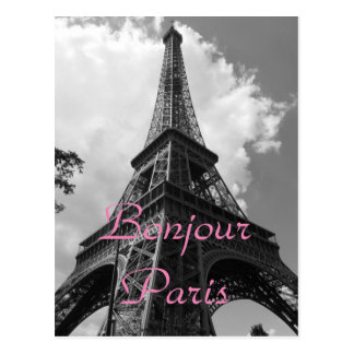 Bonjour Paris Black White Eiffel Tower France Postcard