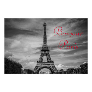Bonjour Paris Black White Eiffel Tower Travel Poster