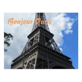 Bonjour Paris Eiffel Tower Close-up Photo Postcard