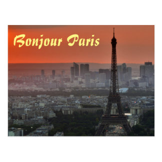 Bonjour Paris Eiffel Tower European Art Postcard