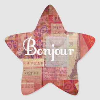 BONJOUR - Paris - France - French - Hello Star Sticker