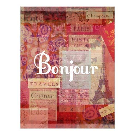 BONJOUR - París - Francia - francés - hola Membrete Personalizado