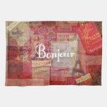 BONJOUR - París - Francia - francés - hola Toallas De Cocina