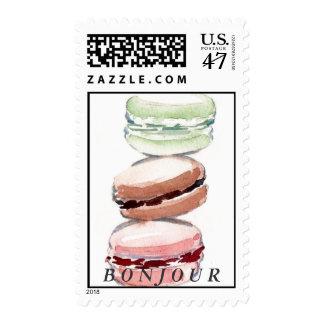Bonjour Paris Macarons Postage Stamp