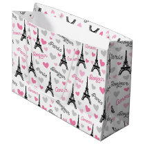 Bonjour Paris pattern party gift bag