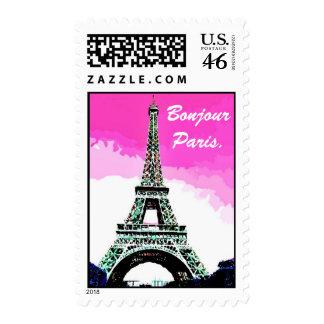 Bonjour  Paris. Postage Stamp