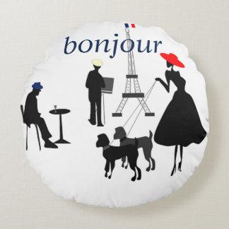 Bonjour Paris Round Pillow