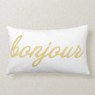 Bonjour Pillow | Gold Colored Script