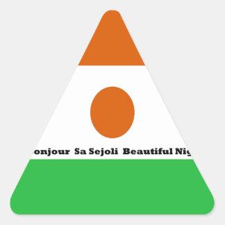 Bonjour  sa sejoli  Beautiful Niger.jpg Triangle Stickers