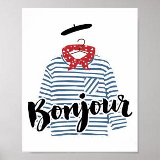 Bonjour, striped french shirt Print