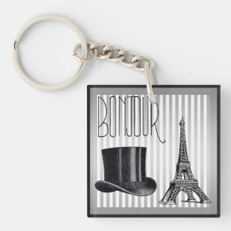 Bonjour Top Hat and Eiffel Tower Single-Sided Square Acrylic Keychain