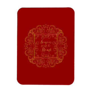 Bonjour Tout Le Monde Red and Gold French Magnet