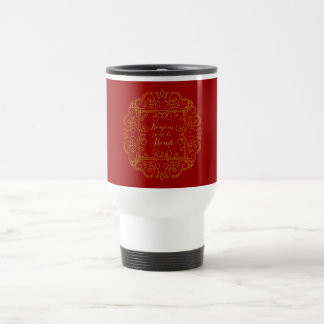 Bonjour Tout Le Monde Red and Gold French Travel Mug