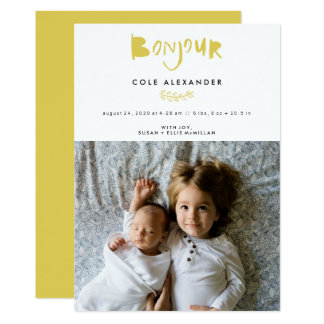 Bonjour Vertical Birth Announcement Cards