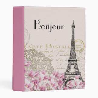 Bonjour Vintage Eiffel Tower Collage with Flowers Mini Binder
