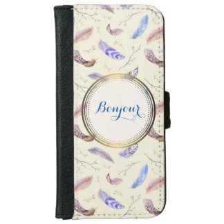 Bonjour Watercolor Feathers and Leaves iPhone 6/6s Wallet Case