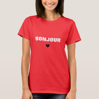 Bonjour White Typography T-Shirt