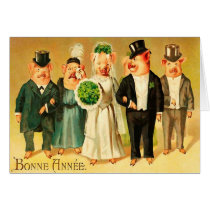 Bonne Année - Bride and Groom with family Card