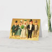 Bonne Année - Bride and Groom with family Holiday Card