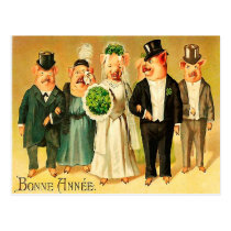 Bonne Année - Bride and Groom with family Postcard