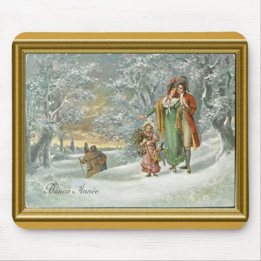 Bonne Annee, French midwinter scene Mouse Pads