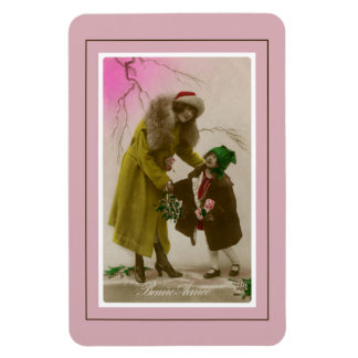 Bonne annee vintage French Photo mother and child Magnet